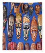 African Tribal Masks In Sidi Bou Said Fleece Blanket