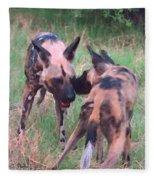 African Wild Dogs Fleece Blanket