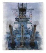 Aft Turret 3 Uss Iowa Battleship Photoart 01 Fleece Blanket