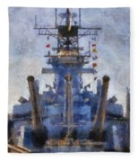 Aft Turret 3 Uss Iowa Battleship Photoart 02 Fleece Blanket