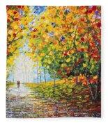 After Rain Autumn Reflections Acrylic Palette Knife Painting Fleece Blanket