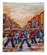 After School Winter Fun Street Hockey Paintings Of Montreal City Scenes Carole Spandau Fleece Blanket