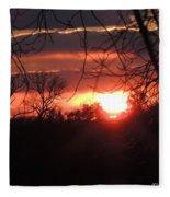 After The Snow Sunset Fleece Blanket