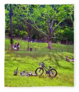 Afternoon In The Park With Friends Fleece Blanket