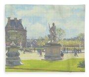 Afternoon In The Tuileries, Paris Oil On Canvas Fleece Blanket