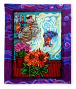 Afternoon Tea By The Window Fleece Blanket