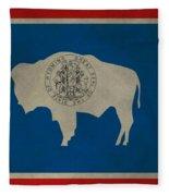 Aged Wyoming State Flag Fleece Blanket