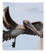 Airborne Brown Pelican Fleece Blanket