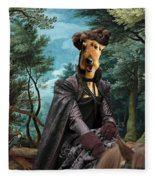 Airedale Terrier Art Canvas Print - Forest Landscape With Deer Hunting And Noble Lady Fleece Blanket