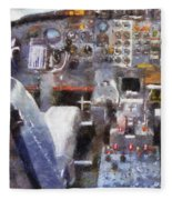 Airplane Cockpit Photo Art Fleece Blanket