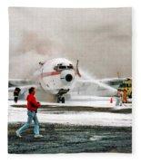 Airplane Crash Drill Landscape Fleece Blanket
