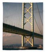 Akashi Kaikyo Bridge Sunset Fleece Blanket