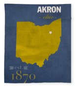 Akron Zips Ohio College Town State Map Poster Series No 007 Fleece Blanket