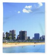 Ala Moana Beach Park And Diamond Head Fleece Blanket