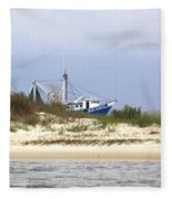 Alabama - Gulf Of Mexico Shrimper - Beautiful Day For Fishing Fleece Blanket