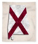 Alabama Map Art With Flag Design Fleece Blanket