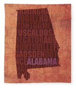 Alabama Word Art State Map On Canvas Fleece Blanket