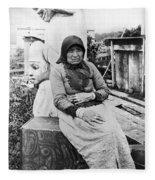 Alaska Eskimo Woman Fleece Blanket