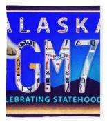 Alaska License Plate Fleece Blanket