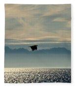 Alaskan Eagle At Sunset Fleece Blanket