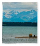 Alaskan Grizzly And Spring Cub Fleece Blanket