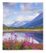 Alaskan Horizons Oil Painting Fleece Blanket