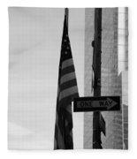 Albany Street In Black And White Fleece Blanket