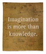 Albert Einstein Quote Imagination Science Math Inspirational Words On Worn Canvas With Formula Fleece Blanket