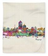 Albquerque New Mexico Skyline Pillow Fleece Blanket