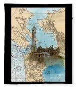 Alcatraz Island Lighthouse Ca Nautical Chart Map Art Fleece Blanket