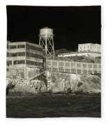 Alcatraz The Rock Sepia 1 Fleece Blanket