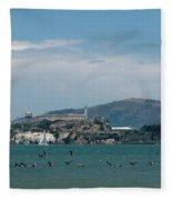 Alcatraz With Pelicans Fleece Blanket