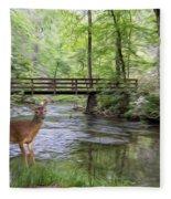 Alert Deer By Bridge In Cades Cove Fleece Blanket