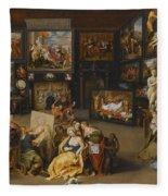 Alexander The Great Visiting The Studio Of Apelles Fleece Blanket
