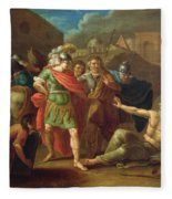 Alexander The Great Visits Diogenes At Corinth, 1787 Oil On Canvas Fleece Blanket