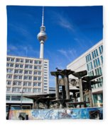 Alexanderplatz View On Television Tower Berlin Germany Fleece Blanket