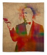 Alfred Hitchcock Watercolor Portrait On Worn Parchment Fleece Blanket