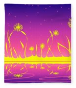 Alien Fire Flowers Fleece Blanket