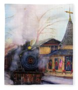 All Aboard At The New Hope Train Station Fleece Blanket