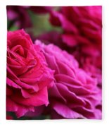 All The Fuchsia Pink Roses  Fleece Blanket