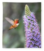 Allen Hummingbird On Flower Fleece Blanket