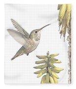 Allen's Hummingbird And Aloe Fleece Blanket