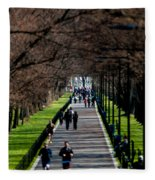 Alley Of Trees With Runners And Joggers Fleece Blanket
