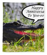Alligator Anniversary Card Fleece Blanket