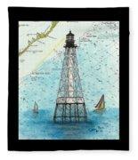 Alligator Reef Lighthouse Fl Keys Nautical Map Cathy Peek Fleece Blanket