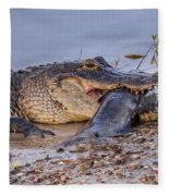 Alligator With A Fish Fleece Blanket