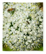 Allium Flower And Lightning Bug Fleece Blanket