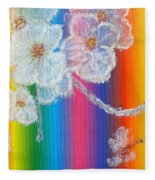Almond Flowers On Spectrum Fleece Blanket