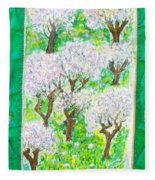 Almond Trees And Leaves Fleece Blanket