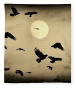 Almost Full Moon And Crows Fleece Blanket